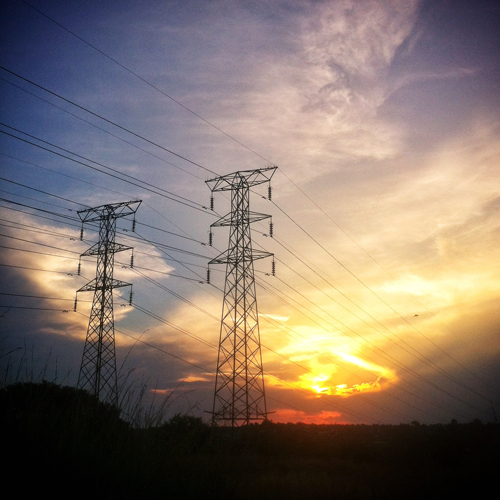 power line sunset