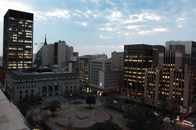 City library at nightfall